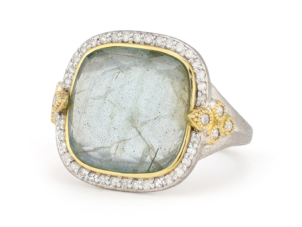 Mixed Metal Pave Stone Ring
