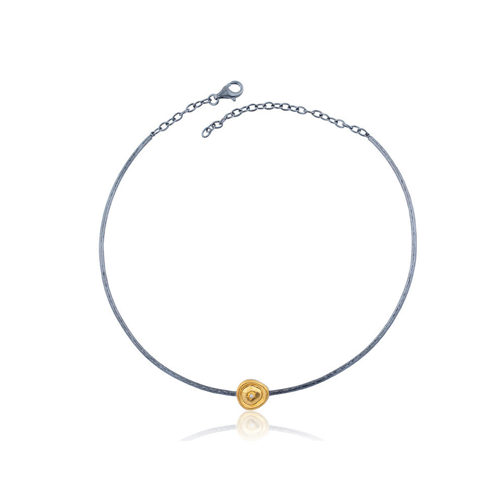 Gold and Silver Choker with Diamond