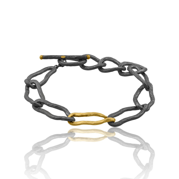 Gold and Oxidized Silver Link Bracelet