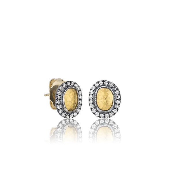 Gold and Oxidized Silver Stud Earrings