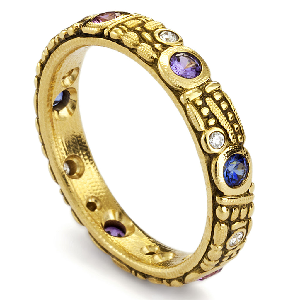 Gold, Sapphire and Diamond Band