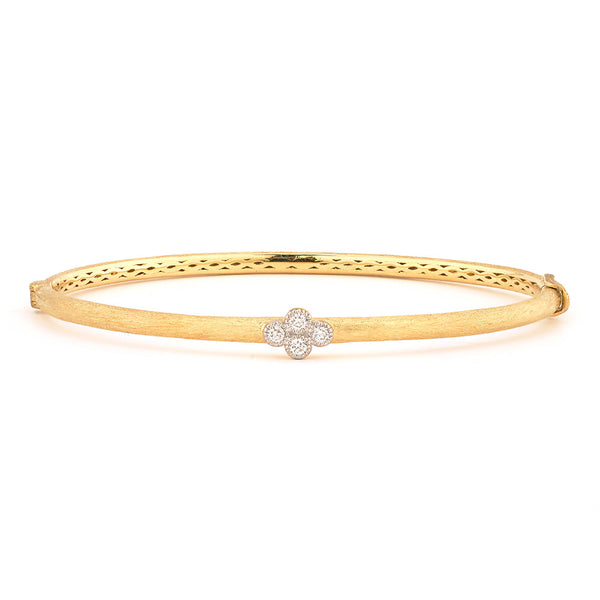 Brushed Provence Bangle with One Diamond Quad