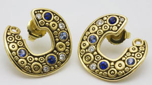 Diamond and Sapphire Split Disc Earrings