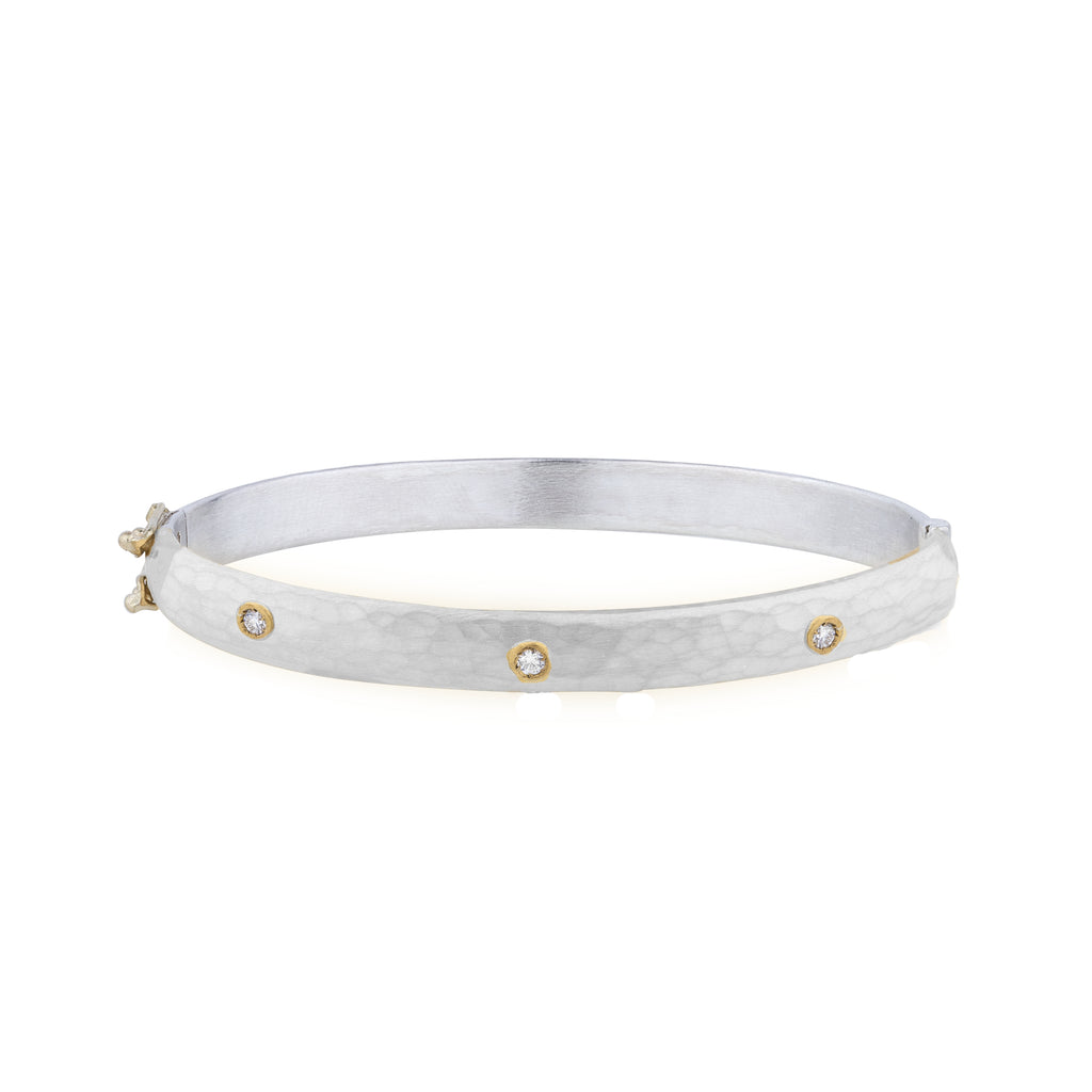 Oval Hinged Silver Bangle