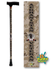 Load image into Gallery viewer, Afghanistan Veteran T Handle Walking Cane Military BFunkyMobility