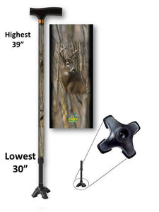 walking cane with big buck deer footed quad t handle derby adjustable men or women fashionable bfunkymobility