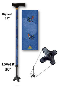 walking cane with blue birds footed quad t handle derby adjustable men or women fashionable bfunkymobility