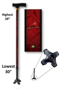 walking cane with cardinals footed quad t handle derby adjustable men or women fashionable bfunkymobility