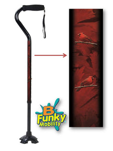 Walking Cane Gel Grip Offset Footed Quad with Cardinal birds Walking Cane BFunkyMobility