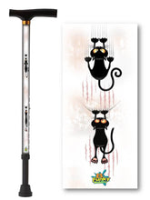 Load image into Gallery viewer, walking cane with cat pattern t handle derby adjustable men or women fashionable bfunkymobility