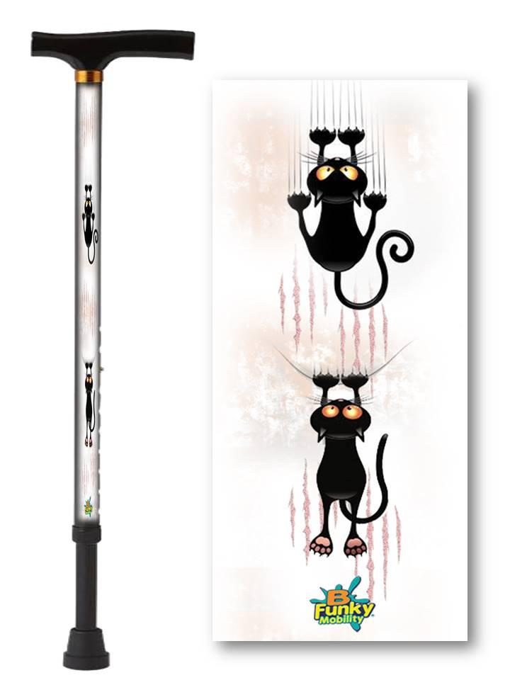 walking cane with cat pattern t handle derby adjustable men or women fashionable bfunkymobility