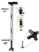Load image into Gallery viewer, walking cane with cat pattern quad footed t handle derby adjustable men or women fashionable bfunkymobility