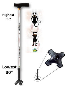 walking cane with cat pattern quad footed t handle derby adjustable men or women fashionable bfunkymobility