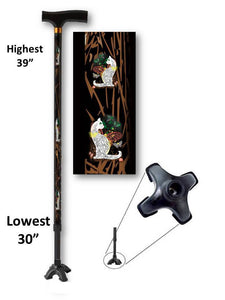 walking cane with cats footed quad t handle derby adjustable men or women fashionable bfunkymobility