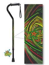 Load image into Gallery viewer, Christmas Star Gel Grip Handle Offset Style Walking Cane Fractal Artwork