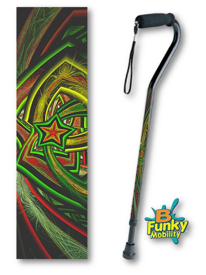 Christmas Star Foam Handle Offset Walking Cane Fractal Artwork