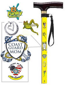 Custom Designed Military Walking Cane BFunkyMobility fashionable affordable t handle offset
