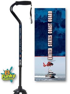 Military Walking Cane US Coast Guard Offset footed quad Adjustable Men or Women Veteran BFunkyMobility