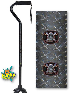 Walking Cane Gel Grip Offset Footed Quad cold steel biker Walking Cane BFunkyMobility