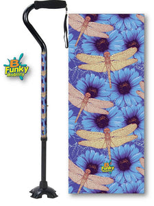 Walking Cane Gel Grip Offset Footed Quad with dragonflies Walking Cane BFunkyMobility
