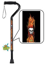 Load image into Gallery viewer, Walking Cane Offset Foam Handle Skulls with Flames Adjustable Men or Woman Fashionable Cool BFunkyMobility