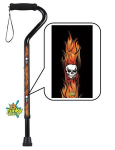 Walking Cane Offset Foam Handle Skulls with Flames Adjustable Men or Woman Fashionable Cool BFunkyMobility