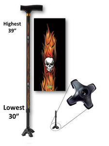 T Handle Walking Cane Derby Flames with Skulls Footed Cool Adjustable Men or Women Fashionable BFunkyMobility
