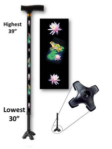 walking cane with frogs footed quad t handle derby adjustable men or women fashionable bfunkymobility