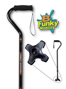 Walking Cane Offset Foam Handle Footed Handle Harley Adjustable Men or Woman Fashionable Cool BFunkyMobility