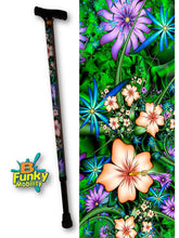 Load image into Gallery viewer, hibiscus passion floral t handle walking cane fractal artwork