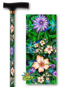 walking cane with tropical hibiscus flowers t handle derby adjustable men or women fashionable bfunkymobility