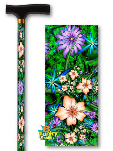 T Handle Derby Style Walking Canes with Floral Patterns