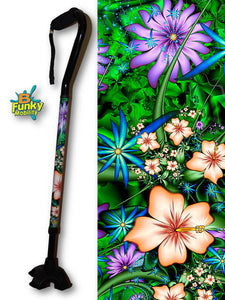 Walking Cane Offset Hibiscus Floral Flowers Footed Quad Men or Women Adjustable fashionable bfunkymobility