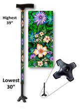 Load image into Gallery viewer, Hibiscus Passion T Handle Quad Walking Cane BFunkyMobility