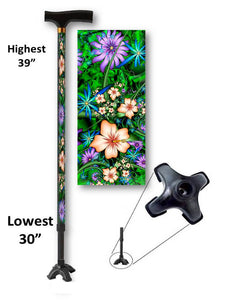 Hibiscus Passion T Handle Quad Walking Cane BFunkyMobility