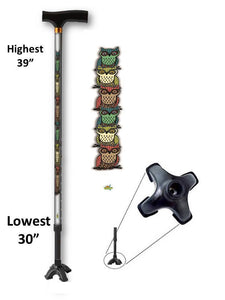 walking cane with owls footed quad t handle derby adjustable men or women fashionable bfunkymobility
