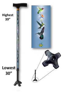 walking cane with humming birds footed quad t handle derby adjustable men or women fashionable bfunkymobility