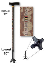 Load image into Gallery viewer, walking cane for iraq veteran military t handle derby footed quad adjustable men or women gift fashionable bfunkymobility