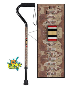 Military Walking Cane Iraq Veteran Offset Adjustable Men or Women Veteran BFunkyMobility