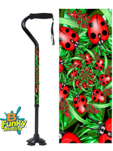 Load image into Gallery viewer, Walking Cane Offset Ladybugs adjustable Footed Quad Men or Women Adjustable fashionable bfunkymobility