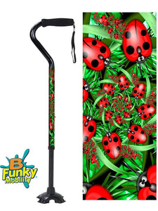 Walking Cane Offset Ladybugs adjustable Footed Quad Men or Women Adjustable fashionable bfunkymobility