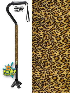 Walking Cane Gel Grip Offset Footed Quad leopard print Walking Cane BFunkyMobility