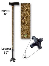 Load image into Gallery viewer, walking cane with leopard print t handle derby footed quad adjustable men or women fashionable bfunkymobility