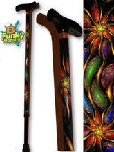 Load image into Gallery viewer, walking cane liquid gems t handle derby adjustable men or women fashionable bfunkymobility