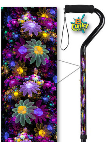 Walking Cane Offset Adjustable Pretty May Flowers Men or Women Fashionable BFunkyMobility