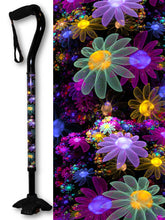 Load image into Gallery viewer, pretty may flowers purple walking cane footed quadruple cane tip offset womens bfunkymobility fashionable