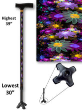 Load image into Gallery viewer, walking cane pretty may flowers footed quad t handle derby adjustable men or women fashionable bfunkymobility