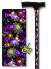 Load image into Gallery viewer, may flowers purple floral fractal artwork wolfepaw bfunkymobility walking canes