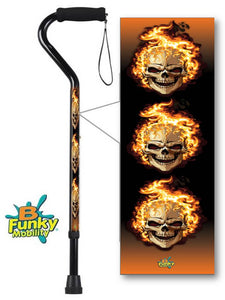 Walking Cane Offset Foam Handle Metallic Skulls with Flames Adjustable Men or Woman Fashionable Cool BFunkyMobility