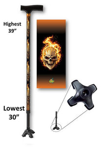 T handle walking cane footed quad metallic skulls with flames adjustable aluminum men or women fashionable bfunkymobility